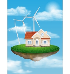 House with wind turbines on a floating island vector image
