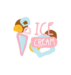 ice cream logo template badge for restaurant bar vector image vector image