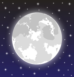 Moon in the night sky with stars vector