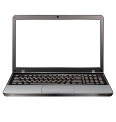 photo realistic laptop front view with blank vector image