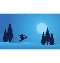 Playing skier on the hill christmas landscape vector