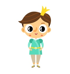 Prince little boy cartoon character isolated on vector