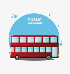 Public transport red bus two storied vector