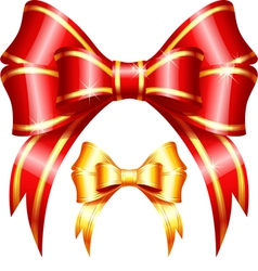 Red and gold gift bow and ribbon vector image vector image