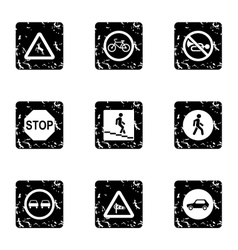 Road sign icons set grunge style vector