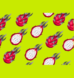 seamless pattern with dragon fruits vector image vector image