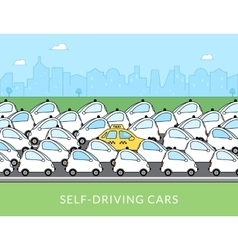 Self-driving car infographic vector