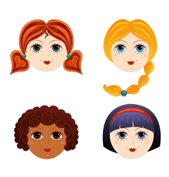 Set of girls faces 3 vector image