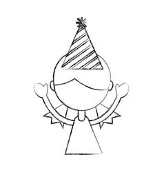 Sketch draw upperbody party girl cartoon vector