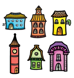 Sketch of cute cartoon colorful houses vector image