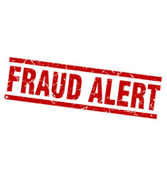 Square grunge red fraud alert stamp vector