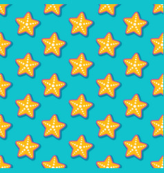 Summer seamless pattern with starfish vector