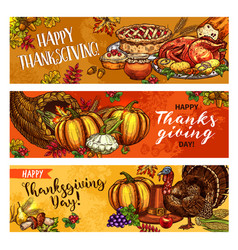 Thanksgiving day greeting banners sketch vector