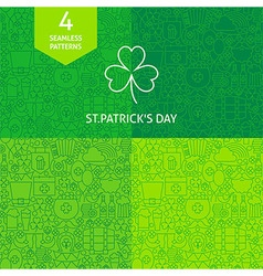 Thin line saint patrick day patterns set vector