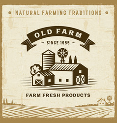 Vintage old farm label vector