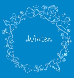 Winter outline objects on round frame vector