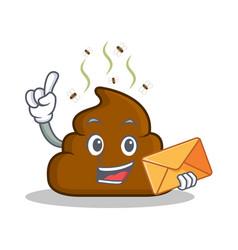 With envelope poop emoticon character cartoon vector