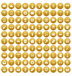100 beer party icons set gold vector