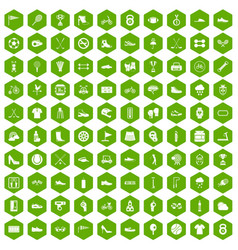 100 sneakers icons hexagon green vector
