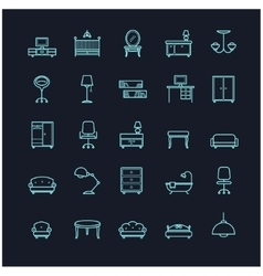 Furniture icon set on a black background vector