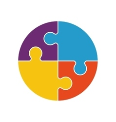 Puzzle circle jigsaw game figure icon vector