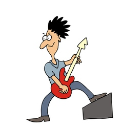 Rock musician guitar player vector