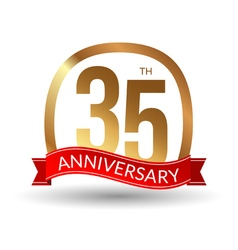 35 years anniversary experience gold label with vector