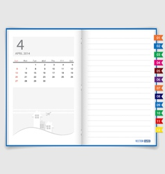 2014 calendar on notebook paper april vector