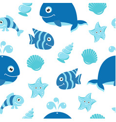 Cute seamless pattern with cartoon sea animals vector