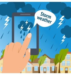 Weather smart phone storm vector