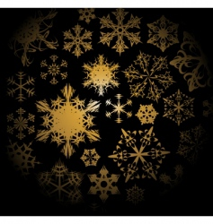Golden snowflakes pattern vector