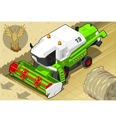 Isometric green thresher at work in front view vector