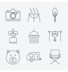 Outline stroke camping icons vector