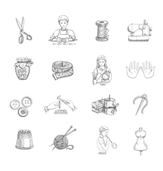 Sketch handmade icons set vector