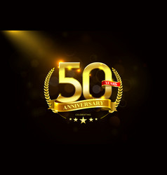 50 years anniversary with laurel wreath golden vector image