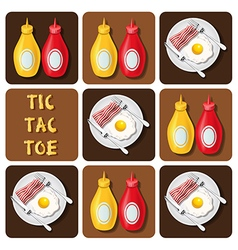 Tic-tac-toe of bacon and fried egg and seasoning vector