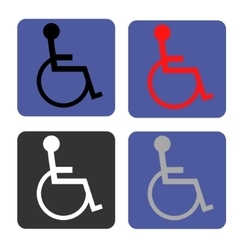 Disabled icon human on wheelchair symbol vector