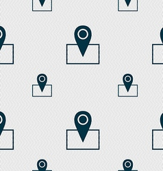 Map pointer icon sign seamless pattern with vector