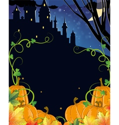 Pumpkins with leaves and old haunted castle vector