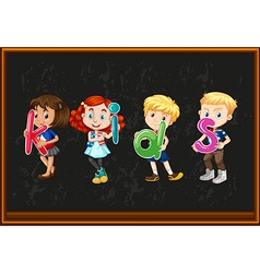 Children holding alphabets on the board vector