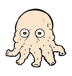 Comic cartoon alien squid face vector