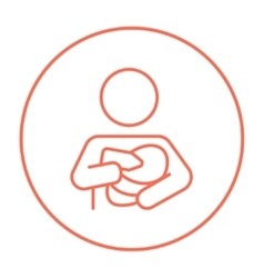 Woman nursing baby line icon vector
