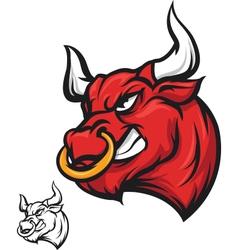 Angry bull head - vector
