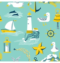 Seamless pattern with marine issues vector