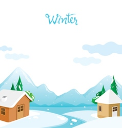 House with snow river and mountain background vector