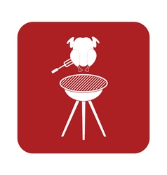 Barbecue grill chicken icon vector
