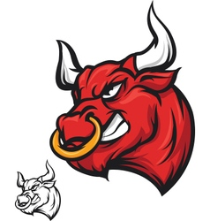 Angry bull head - vector