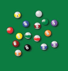 billiard balls pool in green table drawing vector image vector image