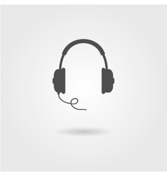 black headphones icon with shadow vector image vector image