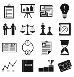 Business office icons set simple style vector image